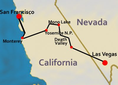 Route Map from Las Vegas to San Francisco