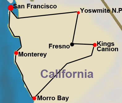 California Winter Vacation Map