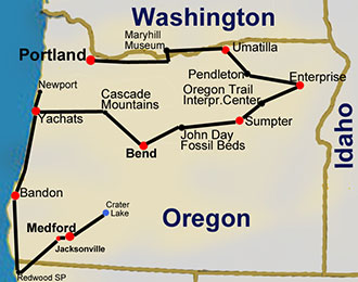 Route Map: Oregon Hiking Trails, 14 day tour