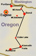 Oregon Winter Tour Route Map