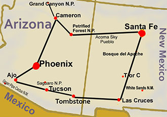 Map of Southwest Adventures Tour