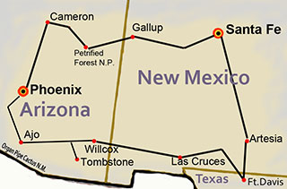 Map of Southwest Native Trails