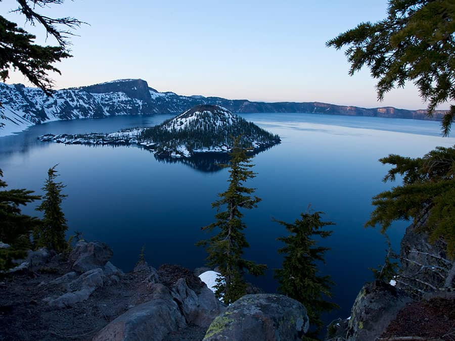 Crater Lake National Park on a springtime evening