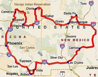 Native Trails Tour Route Map of Arizona and New Mexico
