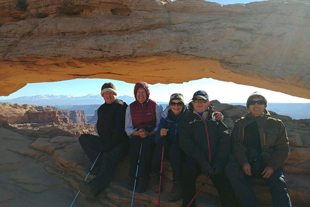 Mesa Arch, Canyonlands with tour group