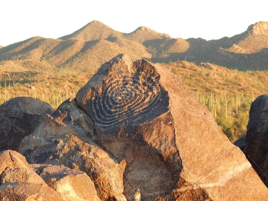Native American rock art in Saguaro National Park