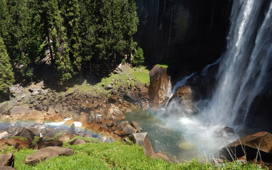 Waterfall with Visible Rainbow